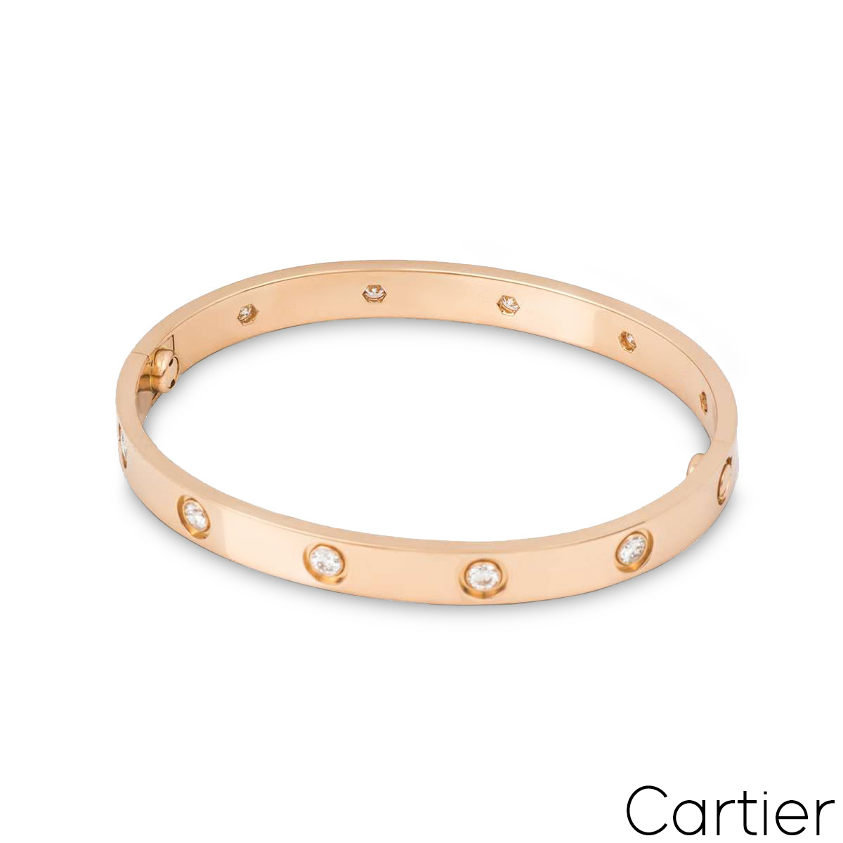Cartier Rose Gold Full Diamond Love Bracelet Size 19 B6040619